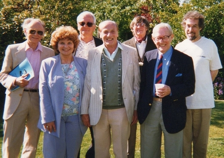 Pictured in the garden at Seavington are: Eric Parkin, pianist; Joy Devon, vocalist; Heinz Herschmann, composer; John Fox, composer; Trevor Duncan, composer; Freddy Dachtler, vocalist and Paul Lewis, composer.
