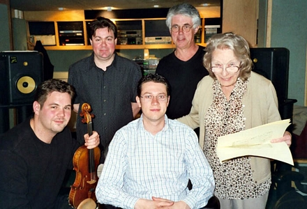 John Wilson records Angela Morley at Abbey Road May 2003. Top row: Michael Dutton and Michael Ponder. Below: Andrew Haverton, John Wilson and Angela Morley (Click to enlarge)