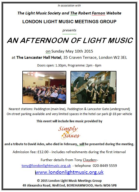 London Light Music Meetings Group - May 2015 Meeting